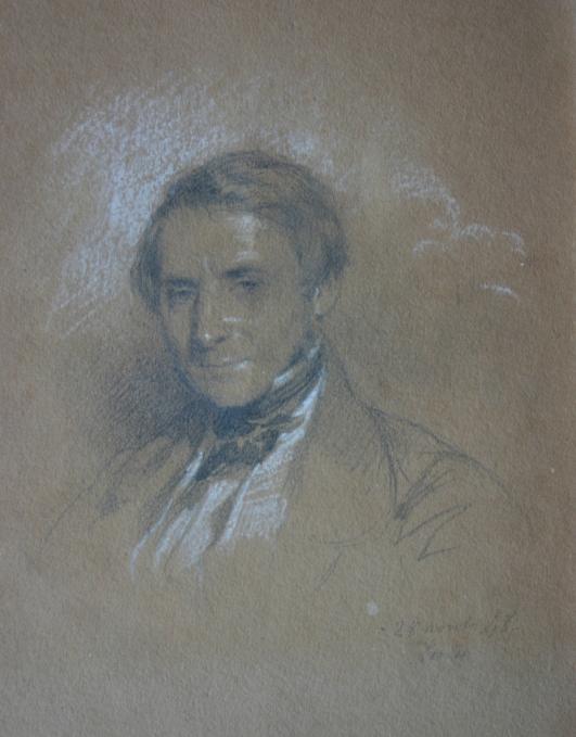 edouard-louis-dubufe-1820-1883-crayon-noir-et-craie-blanche-sur-papier-bistre-180-x-135-mm-tete-dun-homme-date-28-avril-1848-london-origine-rosset-granger