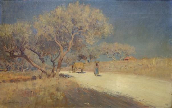 frederic-montenard-huile-sur-toile-485-x-770-1888-paysanne-et-carriole-au-bord-dun-chemin-provencal-succession-marcel-delange-vendu-hdv-corbeil-21-04-07-1400-e
