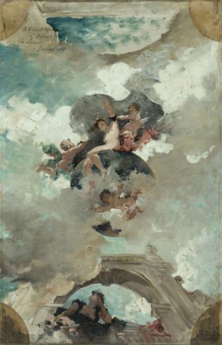 guillaume-dubufe-huile-sur-toile-925-x-600-1887-esquisse-pour-le-plafond-du-foyer-de-la-comedie-francaise-diane-reine-de-la-nuit-dedicace-a-erg-janvier-1887