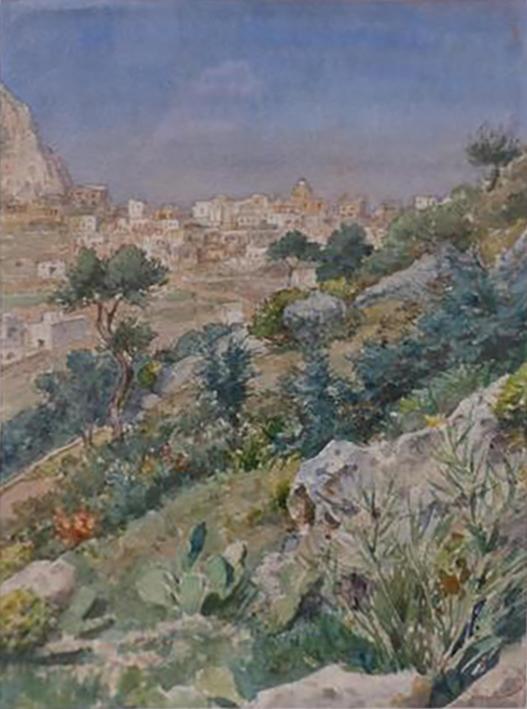 E.ROSSET-GRANGER Aquarelle 1883 345 x 245 Paysage de Capri (Cachet Vente Atelier du 17.06.1942). Vente Darmancier Bourges 26.05.18 lot 385 200-300 €