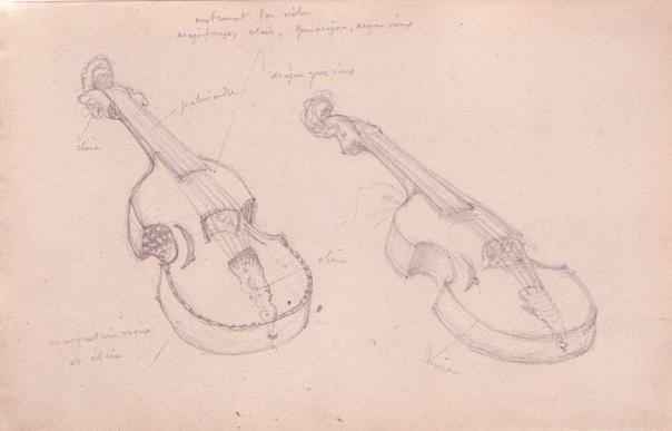 e-rosset-granger-carnet-de-croquis-1879-etude-de-deux-guitares-avec-indications-ecrites-italie-crayon-noir-130-x-206