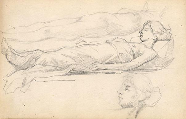 e-rosset-granger-carnet-de-croquis-1879-etude-de-femme-allongee-nue-et-habillee-italie-crayon-noir-130-x-206