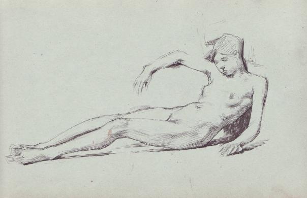 e-rosset-granger-carnet-de-croquis-1879-etude-de-nu-feminin-allonge-dos-releve-plume-130-x-206
