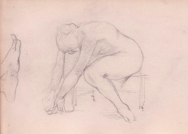 e-rosset-granger-carnet-de-croquis-1879-etude-de-nu-feminin-assis-les-deux-bras-touchant-le-pied-droit-crayon-noir-130-x-206