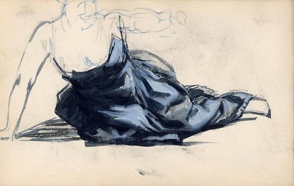e-rosset-granger-carnet-de-croquis-1879-etude-de-nu-feminin-en-italie-avec-robe-bleue-gouache-130-x-206