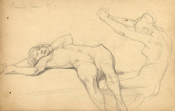 e-rosset-granger-carnet-de-croquis-1879-etude-de-nu-feminin-modele-procuta-italie-crayon-noir-130-x-206-date-fevrier-1879