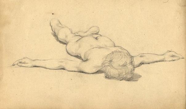 e-rosset-granger-carnet-de-croquis-1879-etude-de-nu-masculin-allonge-bras-en-croix-modele-gerard-cervi-italie-crayon-noir-130-x-206-date-fevrier-1879