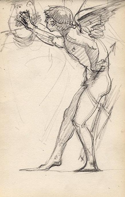 e-rosset-granger-carnet-de-croquis-1879-etude-de-pose-dun-cupidon-aile-en-italie-craie-noire-206-x-130