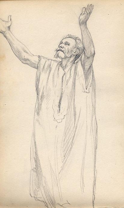 e-rosset-granger-carnet-de-croquis-1879-etude-de-pose-homme-en-chasuble-aux-bras-leves-moise-crayon-noir-206-x-130