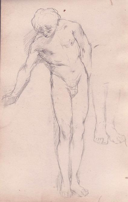 e-rosset-granger-carnet-de-croquis-1879-etude-dun-jeune-homme-nu-de-face-penche-en-avant-crayon-noir-206-x-130