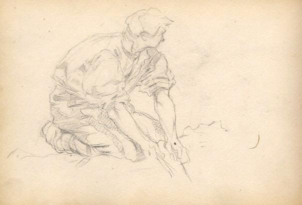 e-rosset-granger-carnet-de-croquis-1879-etude-dun-travailleur-accroupi-italie-crayon-noir-130-x-206