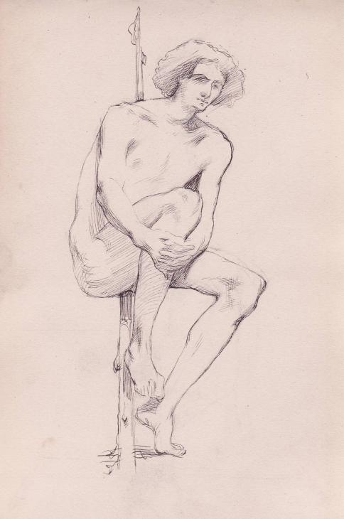 e-rosset-granger-carnet-de-croquis-1879-etude-dune-homme-nu-assis-contre-un-poteau-plume-206-x-130