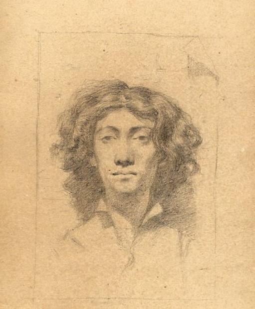 e-rosset-granger-carnet-de-croquis-1879-portrait-dun-homme-aux-cheveux-longs-nefal-dessine-en-italie-crayon-noir-130-x-206