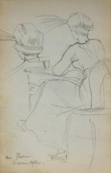 e-rosset-granger-carnet-de-croquis-1912-a-deux-femmes-assises-de-dos-au-florian-fervrier-1912