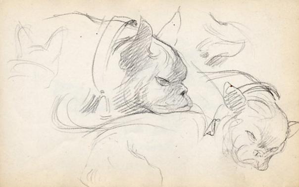 e-rosset-granger-carnet-de-croquis-1912-c-etude-de-deux-tetes-de-bouledogues-crayon-noir-96-x-150
