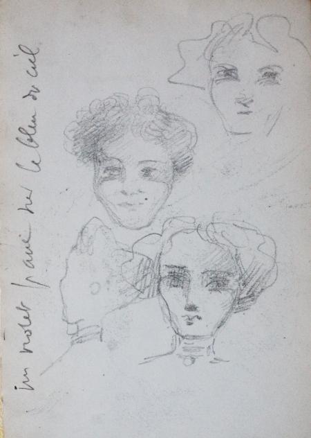 e-rosset-granger-carnet-de-croquis-1912-m-trois-tetes-de-femmes-fardees-au-bal-crayon-noir-150-x-96