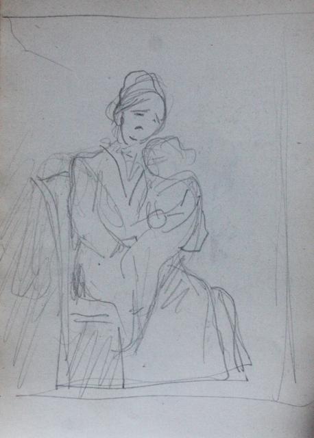 e-rosset-granger-carnet-de-croquis-1912-s-mere-et-enfant-etude-pour-une-composition-crayon-noir-150-x-96