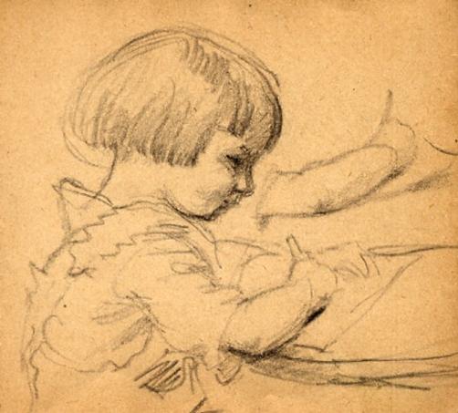e-rosset-granger-carnet-de-croquis-1917-c-pierre-dehay-dit-la-totte-a-4-ans-dessinant-a-puy-pres-de-dieppe-crayon-noir-90-x-96