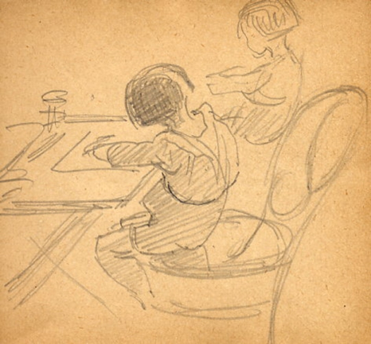 e-rosset-granger-carnet-de-croquis-1917-d-pierre-dehay-dit-la-totte-a-4-ans-dessinant-a-puy-pres-de-dieppe-crayon-noir-90-x-96