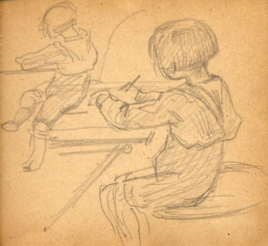 e-rosset-granger-carnet-de-croquis-1917-e-pierre-dehay-dit-la-totte-a-4-ans-dessinant-a-puy-pres-de-dieppe-crayon-noir-90-x-96
