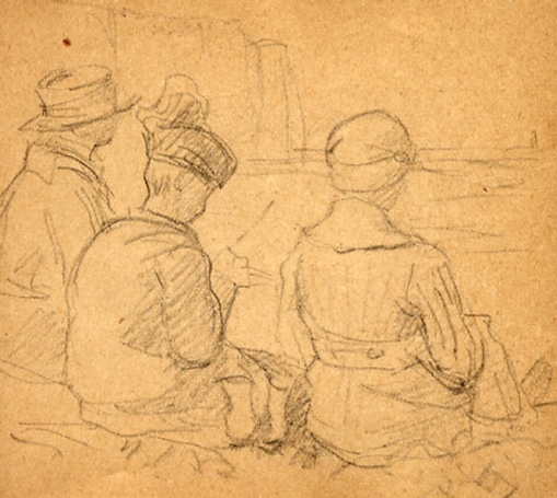 e-rosset-granger-carnet-de-croquis-1917-i-marcelle-et-grand-mere-mathilde-assises-sur-la-greve-a-puy-pres-de-dieppe-crayon-noir-90-x-96