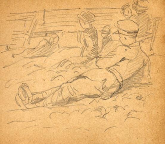 e-rosset-granger-carnet-de-croquis-1917-k-en-famille-sur-la-greve-de-puy-pres-de-dieppe-crayon-noir-90-x-96