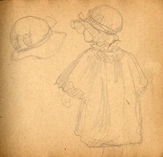 e-rosset-granger-carnet-de-croquis-1917-l-fillette-de-dos-sur-la-greve-de-puy-pres-de-dieppe-crayon-noir-96-x-90