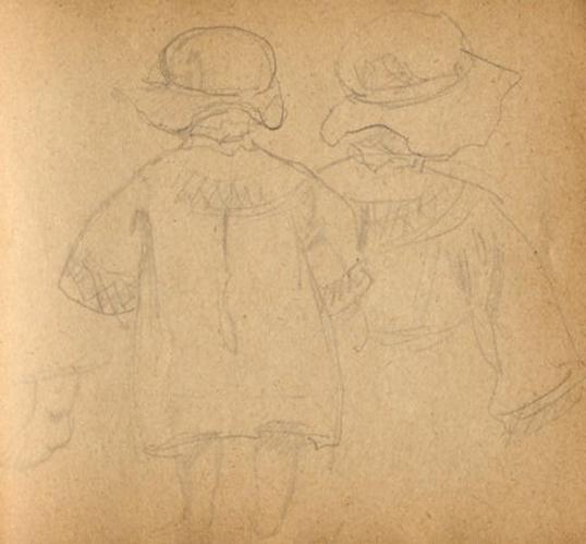 e-rosset-granger-carnet-de-croquis-1917-m-deux-fillettes-de-dos-sur-la-greve-de-puy-pres-de-dieppe-crayon-noir-96-x-90
