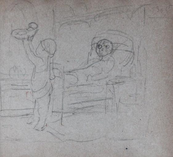 e-rosset-granger-carnet-de-croquis-1917-n-laccouchement-et-la-presentation-du-nouveau-ne-puy-crayon-noir-90-x-96