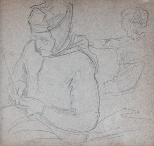 e-rosset-granger-carnet-de-croquis-1917-p-grand-mere-mathilde-tricotant-et-la-totte-a-puy-crayon-noir-90-x-96