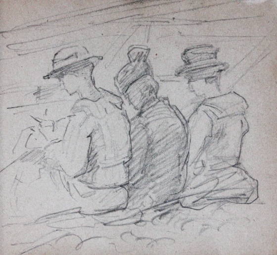 e-rosset-granger-carnet-de-croquis-1917-q-la-famille-dehay-rosset-granger-sur-la-plage-a-puy-crayon-noir-90-x-96