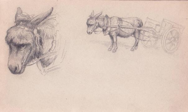 e-rosset-granger-carnet-de-croquis-1919-132-x-220-ane-et-charrette-crayon-noir
