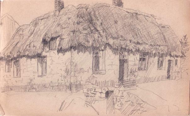 e-rosset-granger-carnet-de-croquis-1919-132-x-220-chaumiere-au-toit-de-chaume-crayon-noir