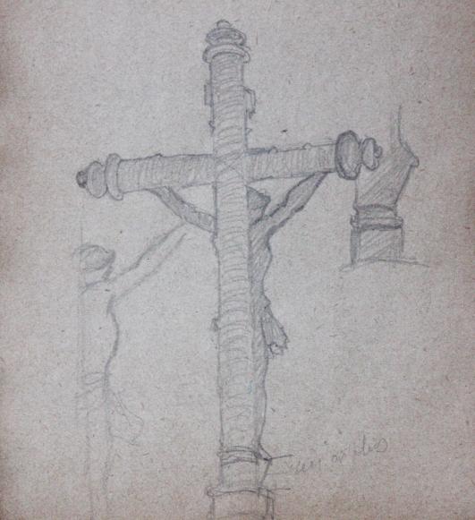 e-rosset-granger-carnet-de-croquis-1919-calvaire-le-christ-sur-la-croix-pres-de-carantec-crayon-noir-96-x-90