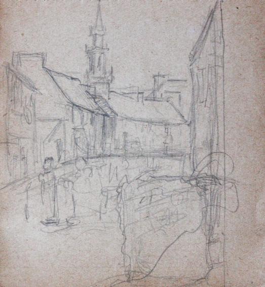 e-rosset-granger-carnet-de-croquis-1919-leglise-de-carantec-finistere-nord-crayon-noir-96-x-90