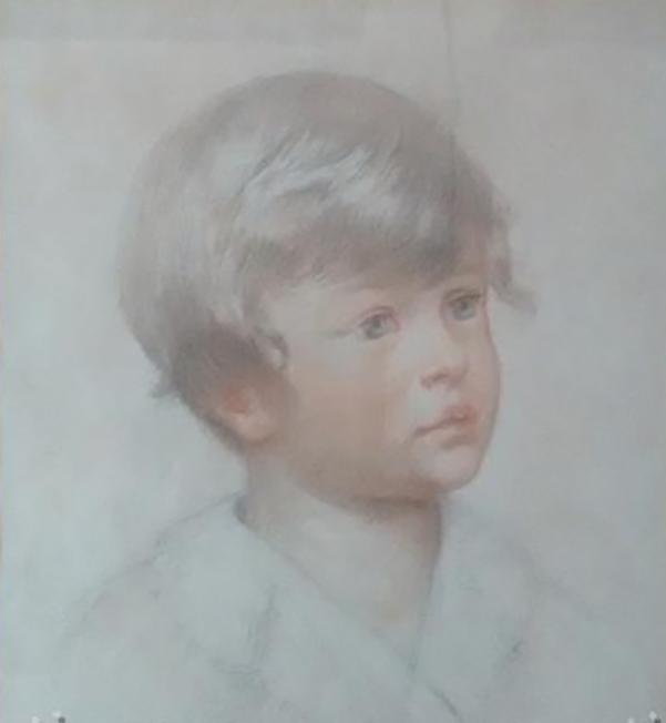 E.ROSSET-GRANGER Crayons de couleurs 1932 255 x 310 Portrait d'un enfant blond (Bernard Simonnet) annoté Janvier 1932. Trésors d'Isabelle mai 2018 450 €