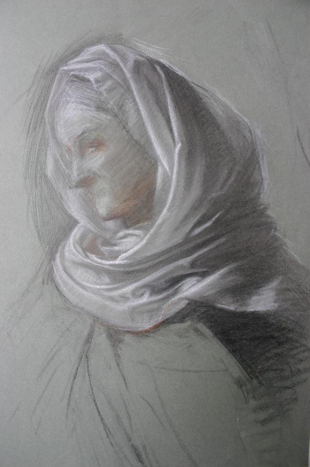 e-rosset-granger-etude-de-composition-1-pour-le-soir-dune-vie-les-noces-dor-1909-drape-de-la-femme-agee-craies-noire-blanche-et-sanguine-395-x-315