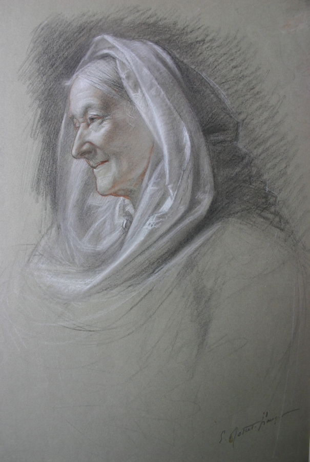 e-rosset-granger-etude-de-composition-2-pour-le-soir-dune-vie-les-noces-dor-1909-tete-de-la-femme-agee-signee-craies-noire-blanche-et-sanguine-405-x-305