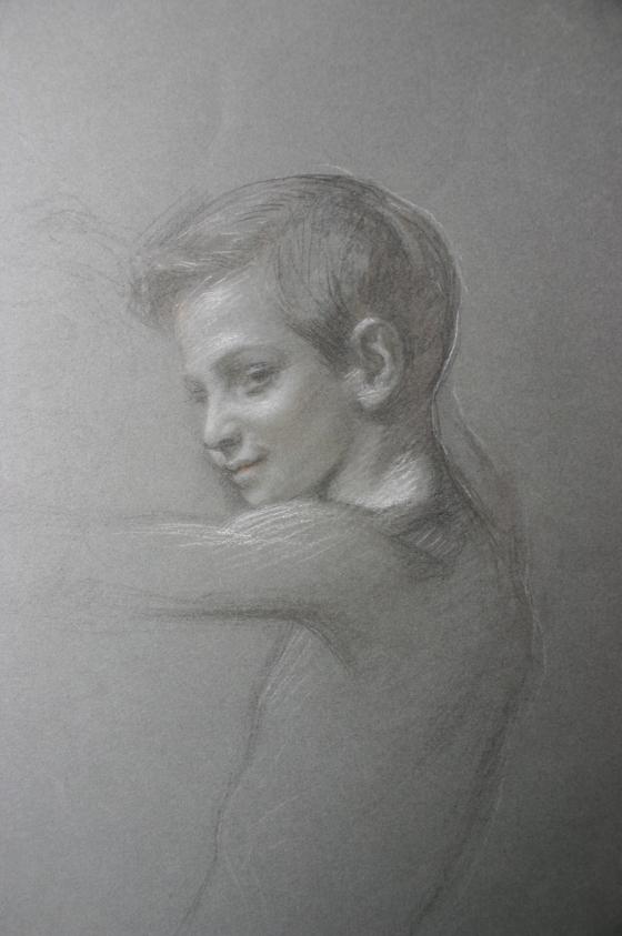 e-rosset-granger-etude-de-composition-4-pour-le-soir-dune-vie-les-noces-dor-1909-portrait-et-buste-dun-jeune-garcon-craies-noire-et-blanche-345-x-260