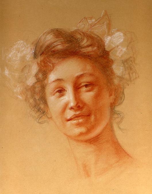 e-rosset-granger-etude-de-composition-5-pour-le-soir-dune-vie-les-noces-dor-1909-craies-de-couleurs-etude-de-portrait-pour-une-decoration-340-x-260