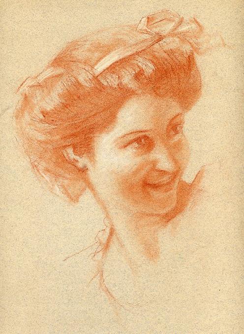 e-rosset-granger-etude-de-composition-6-pour-le-soir-dune-vie-les-noces-dor-1909-craie-sanguine-portrait-de-femme-340-x-260