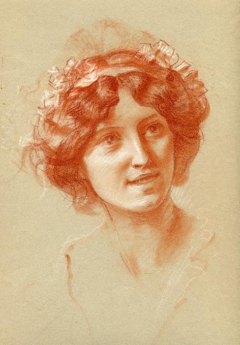 e-rosset-granger-etude-de-composition-7-pour-le-soir-dune-vie-les-noces-d-or-1909-craie-sanguine-portrait-dune-jeune-femme-335-x-250