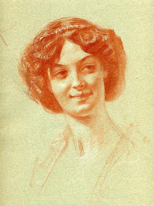 e-rosset-granger-etude-de-composition-8-pour-le-soir-dune-vie-les-noces-dor-1909-craie-sanguine-portrait-dune-jeune-femme-315-x-240