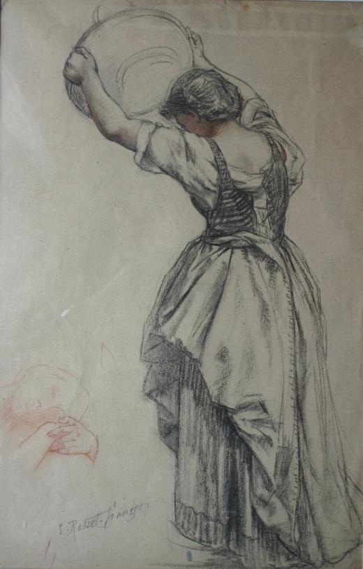 e-rosset-granger-etude-de-femme-portant-une-corbeille-en-vue-de-la-toile-la-cueillette-des-figues-a-capri-1887-craie-noire-et-sanguine-475-x-305-signe