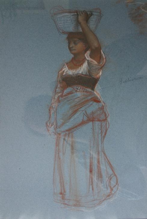 e-rosset-granger-etude-de-pose-pour-une-paysanne-avec-un-panier-sur-la-tete-craies-de-couleurs-sur-papier-bleu-420-x-280