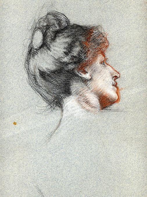 e-rosset-granger-etude-de-tete-de-marcelle-craies-de-couleurs-portrait-de-marcelle-de-profil-arriere-313-x-272-vers-1925