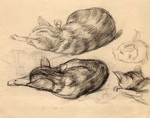 e-rosset-granger-etude-du-chat-joujou-1915-1918-craie-noire-155-x-198