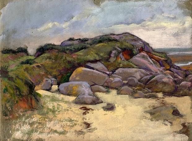 e-rosset-granger-gouache-sur-papier-1919-223-x-295-plage-et-rochers-des-environs-de-pont-aven-raguenes