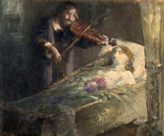 e-rosset-granger-gouache-sur-papier-192-x-229-etude-de-composition-violoniste-jouant-devant-une-morte-dans-son-cercueil-vers-1890