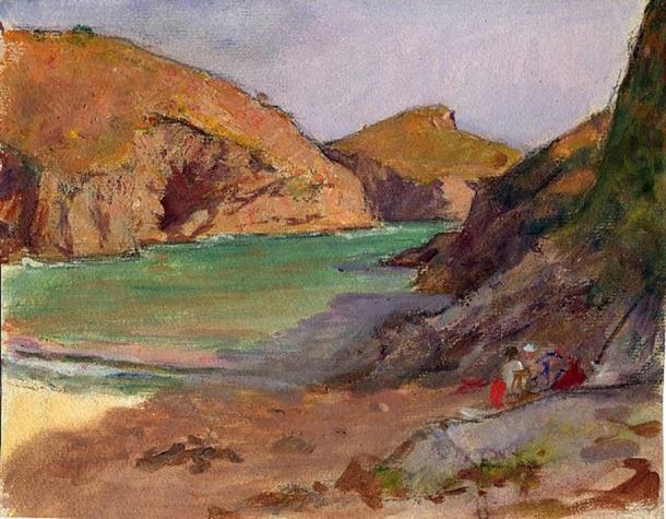 e-rosset-granger-gouache-sur-papier-1927-200-x-251-plage-de-port-herlin-belle-isle